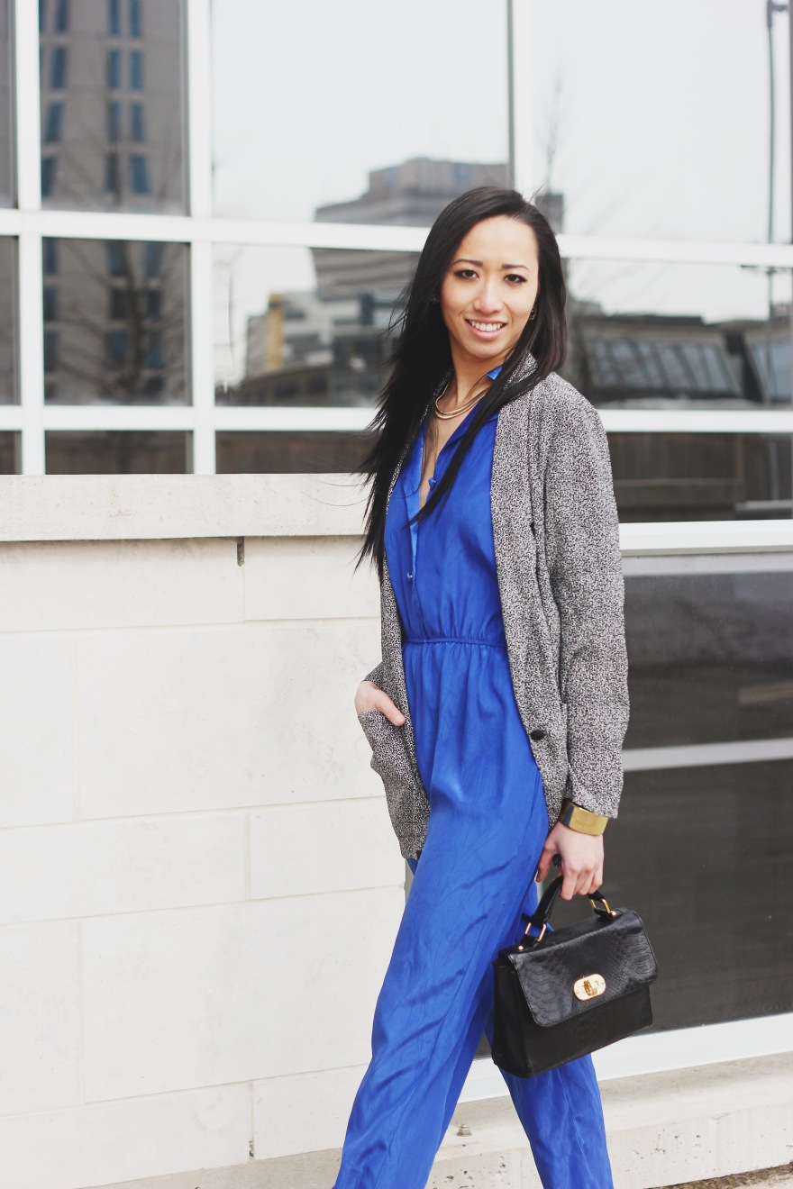 How To Wear Vintage Edition Blue Jumpsuit Spotted Jacket Style